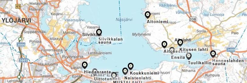 Luokkaretki laivalla, Uittotunneli, Hiedanranta, Naistenlahti, Aitokeskus, Mustalahti