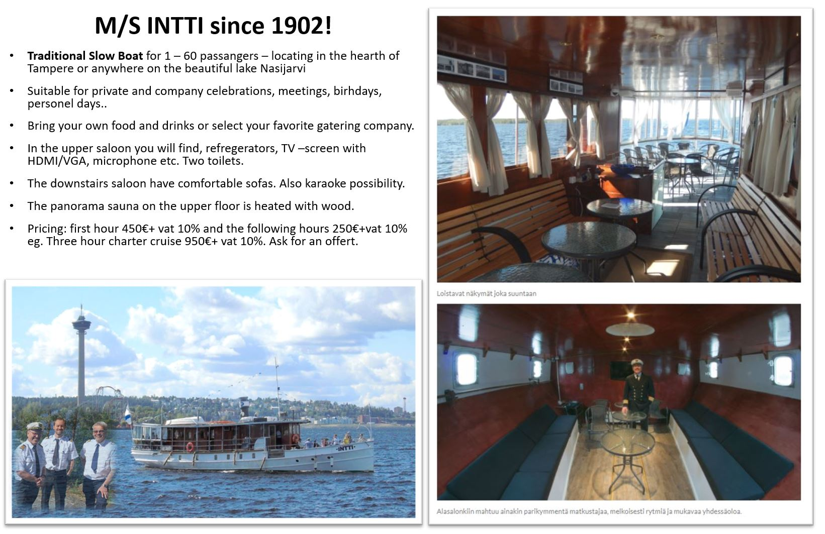Charter cruises, Tampere